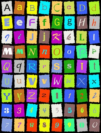 paper spell: English alphabet over black