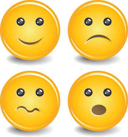 Four yellow smile with emotions