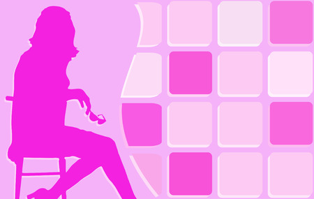 Pink background with girl