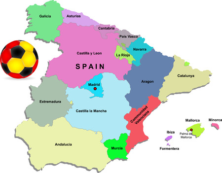 spain map: Spain football illustration