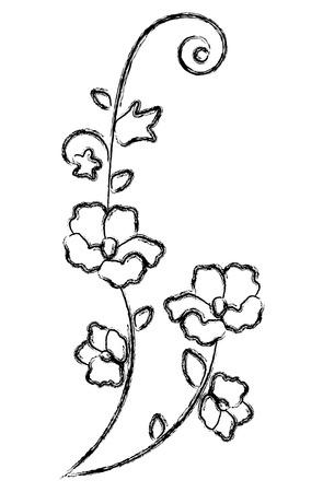 Black flowers vector illustration Çizim