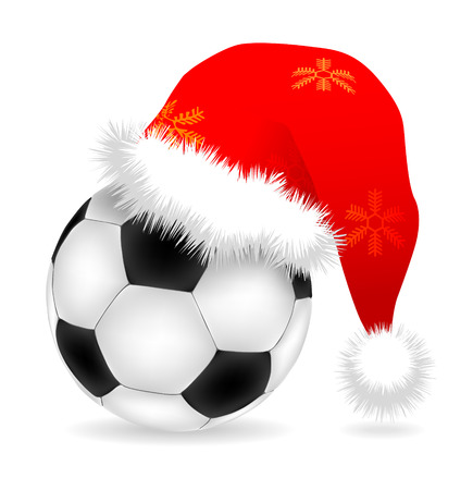 Santa cap over ball illustration Vector