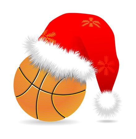 oorkonde: Santa cap over basket bal vector illustratie  Stock Illustratie