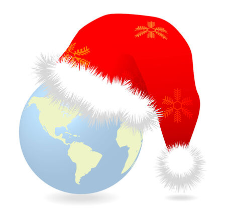 Santa cap over earth globe vector illustration Stock Vector - 8242973