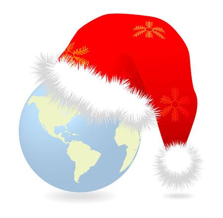 Santa cap over earth globe vector illustration Stock Vector - 8242973