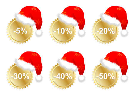 christmass: Six vector christmass business promo stickers Illustration