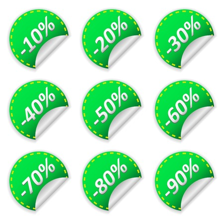 thirty percent off: Stickers with numbers illustration