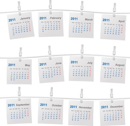 Calendar 2011 on a rope vector illustration Stock Vector - 8422770