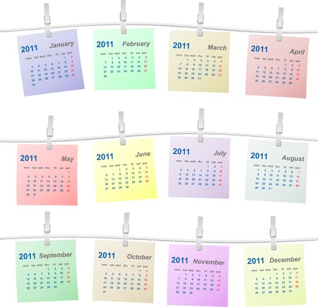 Calendar 2011 colorful on a rope vector illustration