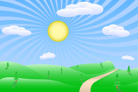 Sunrise landscape vector illustration