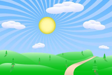 Sunrise landscape vector illustration