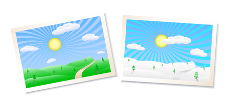 Winter and summer landscapes vector illustration