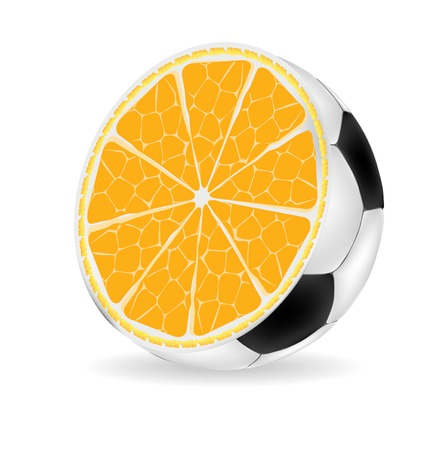 Orange ball isolated over white Vector illustration