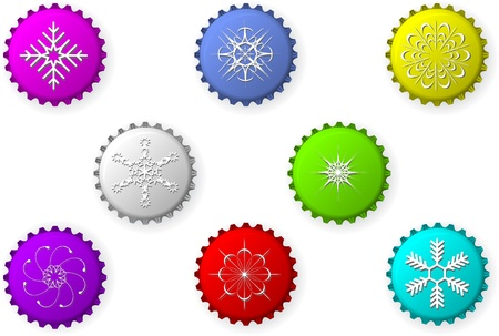 Vector bottle caps with snowflakes Stock Vector - 8786653