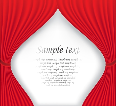 Red theater curtain on white background Vector illustration Vector