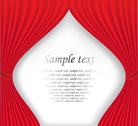 curtain design: Sipario del Teatro rosso su sfondo bianco illustrazione vettoriale
