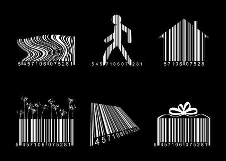 scaner: Barcodes over black Illustration