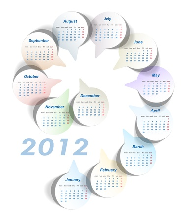 Vector calendar (week starts on Monday) Vector