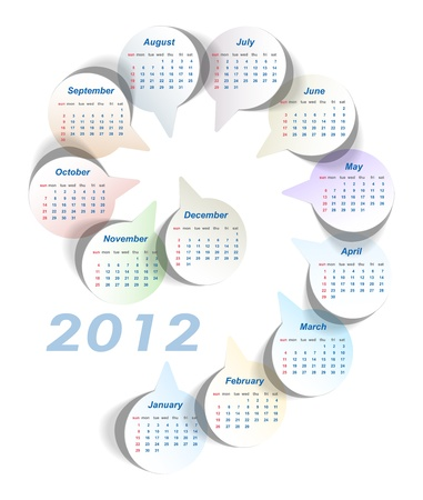 Vector calendar 2012 (week starts on Sunday)