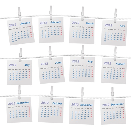 Calendar 2012 on a rope Vector