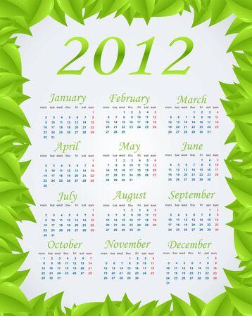Vector green calendar (week starts on Monday) Vector