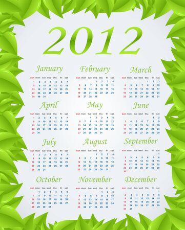 Vector green calendar (week starts on Sunday) Vector