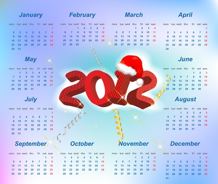 Vector Santa calendar 2012 year (week starts on Monday) Vector