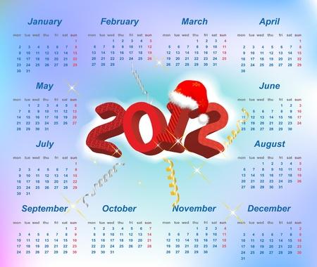 Vector Santa calendar 2012 year (week starts on Monday) Stock Vector - 11138288