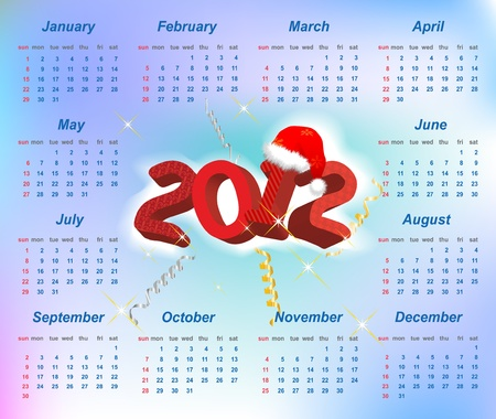Vector Santa calendar 2012 year (week starts on Sunday) Stock Vector - 11138289