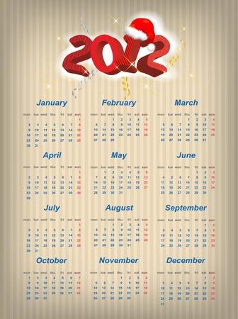 Vector Santa calendar 2012 year (week starts on Monday) Stock Vector - 11511684