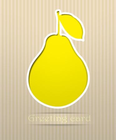 梨: Pear はがきベクトル イラスト  イラスト・ベクター素材