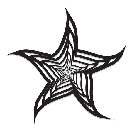 Fdstract starfish black & white vector Vector