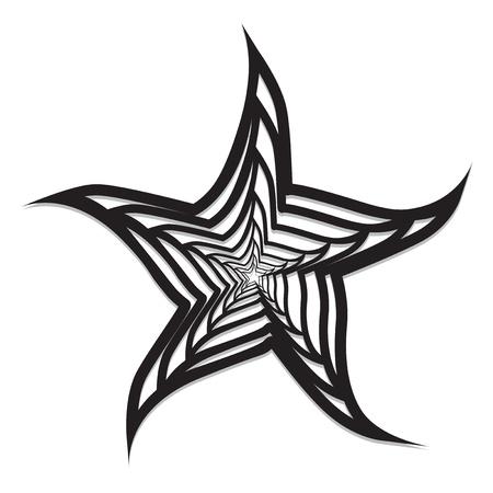 seafish: Fdstract starfish black & white vector Illustration