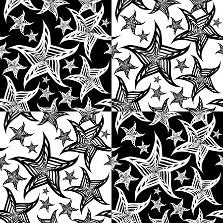 Seamless starfish black & white background Vector
