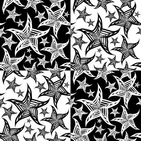 Étoiles de mer transparente noir et blanc