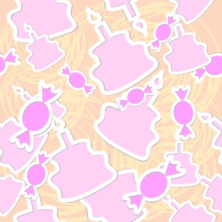 Abstract candy and cake seamless vector background Vector