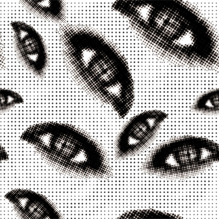 Halftone eyes seamless vector background Illustration