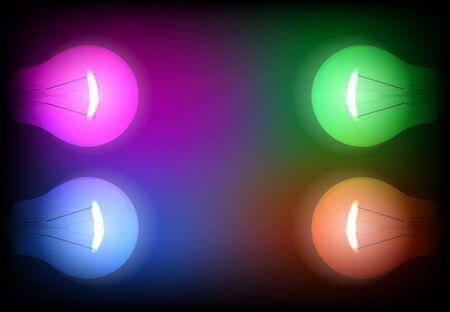 energetics: Four neon light bulb illustration