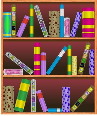 bookcase: illustration bookshelf illustration