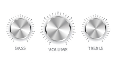 illustration metal volume treble bass knobs