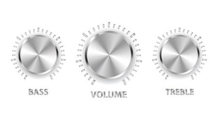 illustration metal volume treble bass knobs Stock Vector - 11571345
