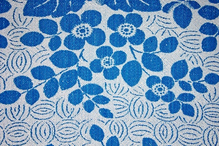 Fabric texture with blue flowers Stock Photo