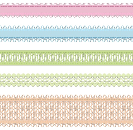 Set of vector laces over white Stock Vector - 12927287