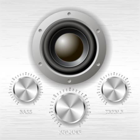 vecteur de m�tal boutons de volume et haut-parleurs Bass Treble