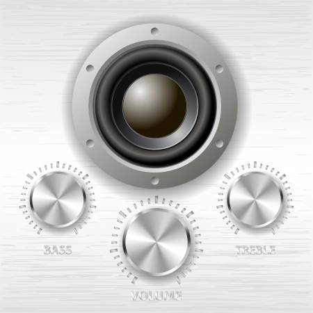 audio electronics: vector metal volume treble bass knobs and speaker