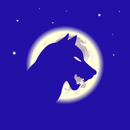 ojos llorando: Lobo y la luna en la noche, ilustraci�n vectorial