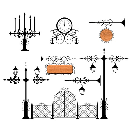 wrought: Wrought iron vintage signs and decor elements Illustration