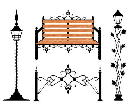 gusseisen: Schmiedeeisen Jahrgang Anzeichen und Dekorelementen Illustration