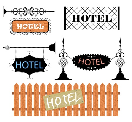 cast iron: Wrought iron vintage signs and decor elements Illustration