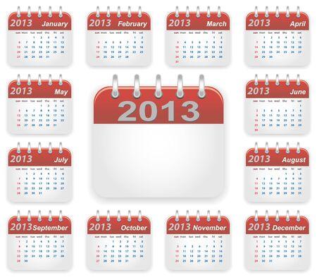 Calendar 2013 year week starts on sunday Stock Vector - 16220952